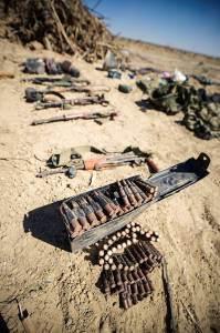 Armas descubiertos en el túnel del terror de Hamas en agosto de 2014. (Portavoz de las FDI / Flash90)