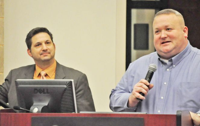 Culpeper County Sheriff Scott Jenkins (right) introduces John Guandolo (left) during the presentation