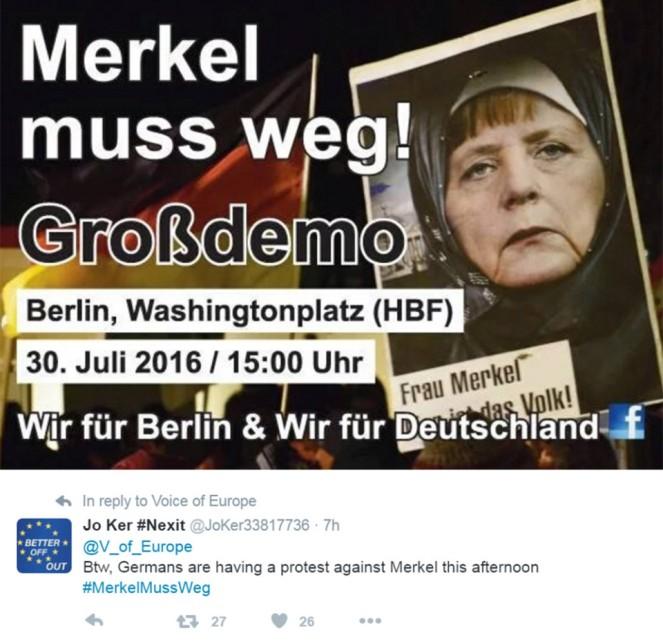 Merkel must go - protests